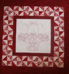 Redwork Basket - Ein Korb voller Blüten