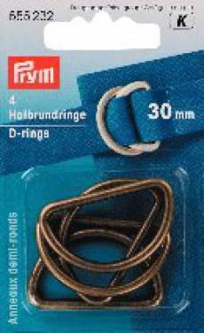 D Ringe antikmessing 30 mm
