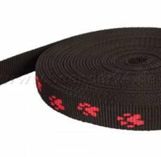 Gurtband Pfötchen schwarz / rot 2 cm