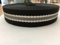 Gurtband schwarz grau weiss 3 cm