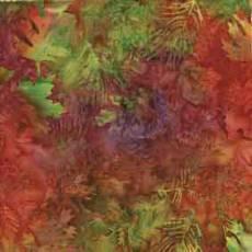 Island Batik leaves orange green