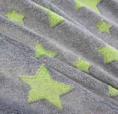 Polarfleece stars grau/grün