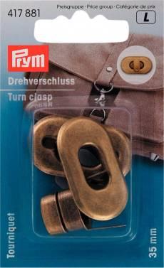 Prym Drehverschluss oval antikmessing
