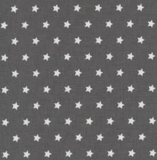 Capri Druckstoff beschichtet grau weiß Stars
