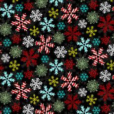 Holly Jolly Christmas Snowflakes Black