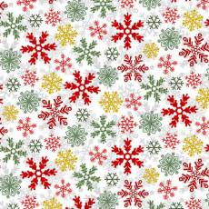 Holly Jolly Christmas Snowflakes White