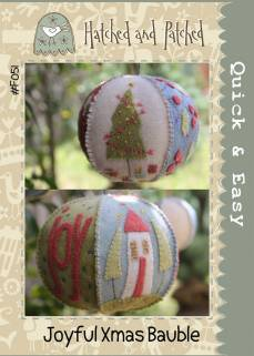 Hatched and Patched- Joyful Xmas Bauble