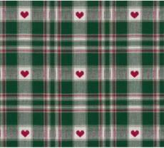 Westfalenstoff Trondheim grün rot natur kariert mit Herz