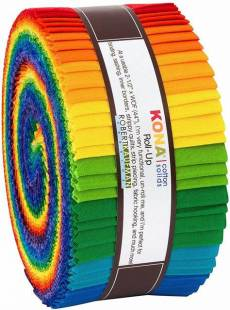 Kona Cotton Jelly roll Bright rainbow